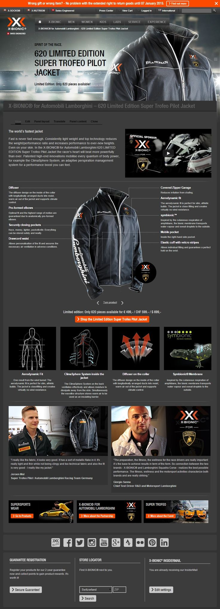 Be fast: Get one of the X-BIONIC® for Automobili Lamborghini 620 LIMITED EDITION Super Trofeo Pilot Jackets - only 620 available! http://www.x-bionic.com/lamborghini-pilotjacket?utm_source=blog&utm_medium=Productteaser&utm_campaign=620-supertrofeo  #xbionic #supersportswear #motorsport #supertrofeo #lamborghini