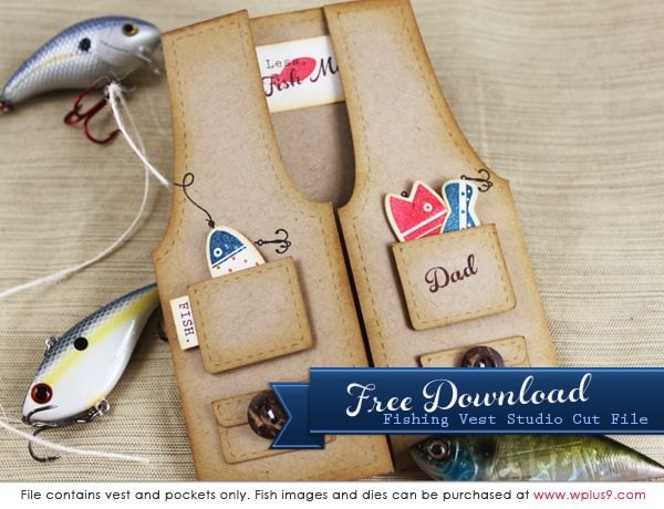 Free Fishing Vest cutting files & template (available in PNG, .STUDIO, .AI, .PDF, and .SVG formats) from Dawn at 'Stamp Away With Me'