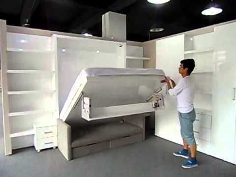 Multifunctional space saving wall bed murphy bed with sofa and bookshelf queen/king size - YouTube// really great video