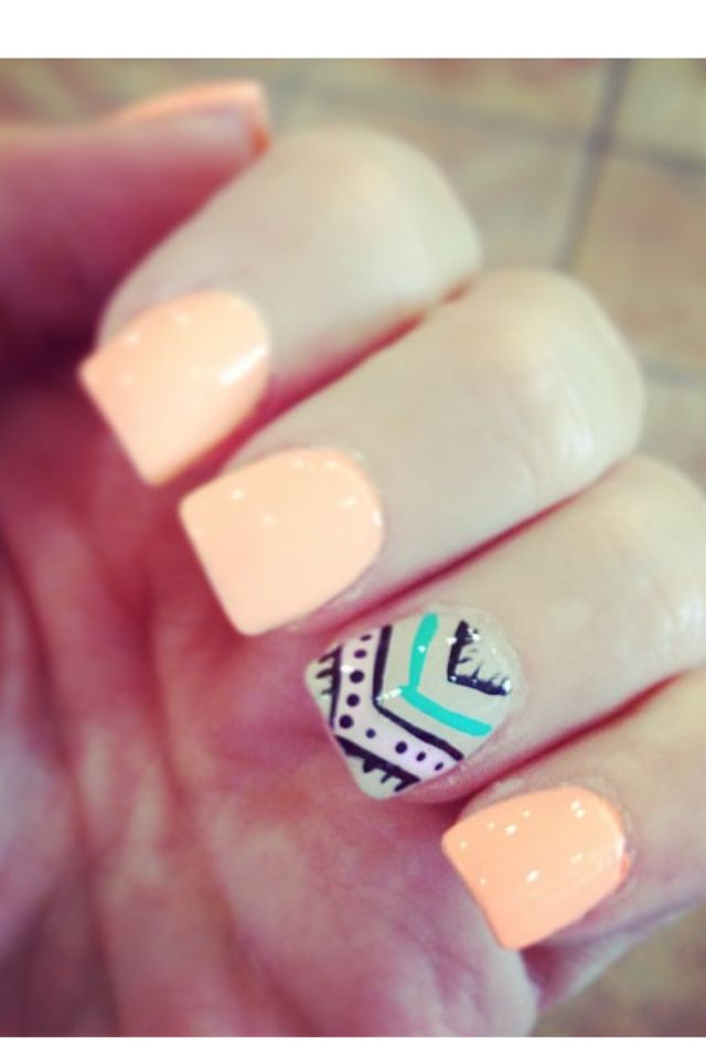 Tribal nails Light peach color with aztec ring finger.