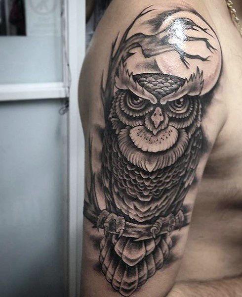 back upper shoulder men owl tattoo - Buscar con Google