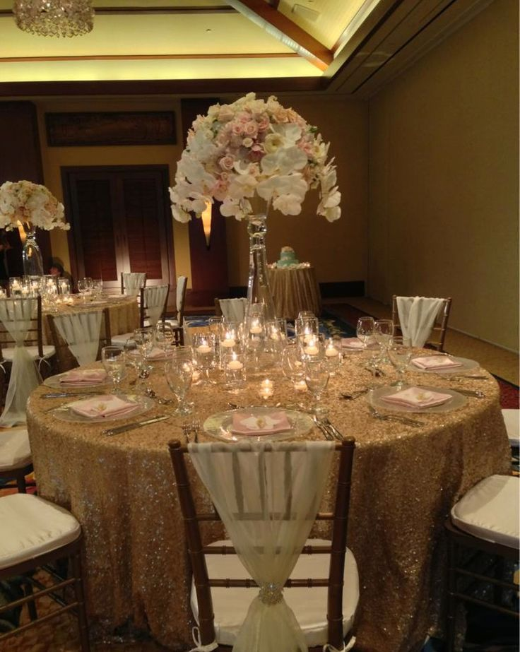 An elegant wedding reception in champagne, blush pink, and cream.