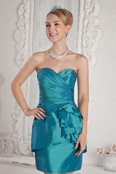Blue Sheath/Column Sweetheart Bridesmaids Dresses ted2676 - SILHOUETTE: Sheath/Column; FABRIC: Satin; EMBELLISHMENTS: Draped , Ruched; LENGTH: Short - Price: 98.0600 - Link: http://www.theeveningdresses.com/blue-sheath-column-sweetheart-bridesmaids-dresses-ted2676.html