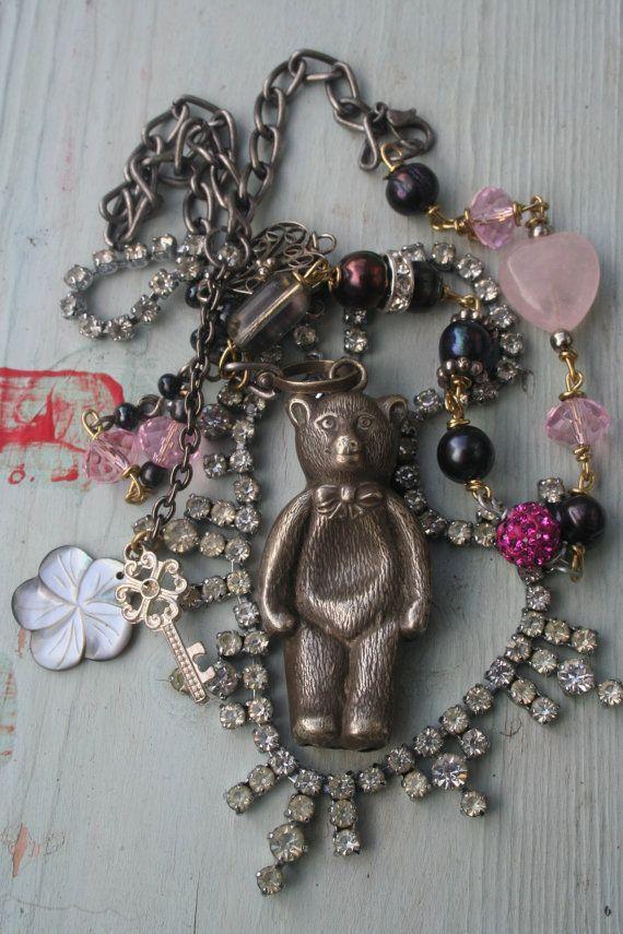 Antique Assemblage necklace Rattle necklace kitsch Antique