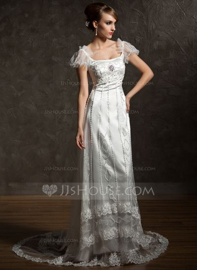 Wedding Dresses - $225.99 - Sheath/Column Square Neckline Chapel Train Tulle Charmeuse Wedding Dress With Lace Beading Crystal Brooch (002012089) http://jjshouse.com/Sheath-Column-Square-Neckline-Chapel-Train-Tulle-Charmeuse-Wedding-Dress-With-Lace-Beading-Crystal-Brooch-002012089-g12089