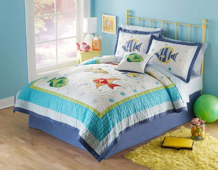 Cute Girls Bedroom Idea For Teen With Cozy Bed And Fish Comforter Set And  Mini Yellow Bedside Table Also Yellow Fur Rug And Wooden Floor And Blue  Wall Paint ...