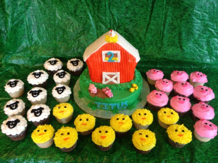 E-I-E-I-O its a Barnyard Party! - Barnyard cake with sheep, pig, and chick cupcakes