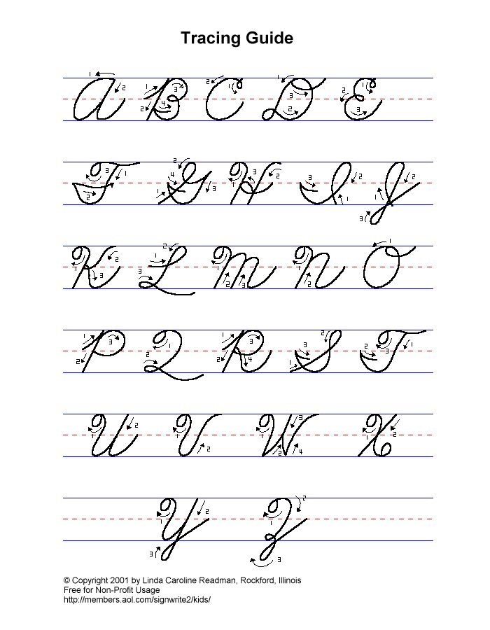 Writing words in cursive