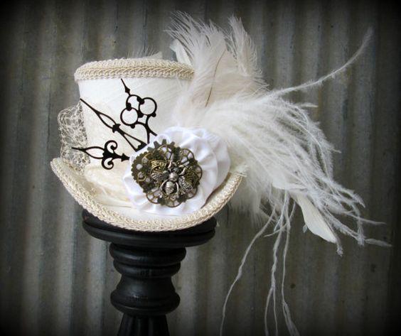 White Linen Queen Bee Steampunk Wedding, Alice in Wonderland Mini Top Hat, Tea Party, Mad Hatter Hat, Bridal Shower,cog gear hat, clock hat: