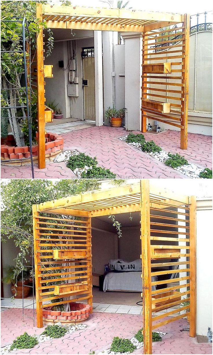 We know that there are many individuals who love to make their home look distinctive, so we never forget to add the ideas like this reclaimed wood pallet arbor idea for making the entrance amazing. This is easy to create by attaching the pallets and without wasting time on cutting them stylishly.