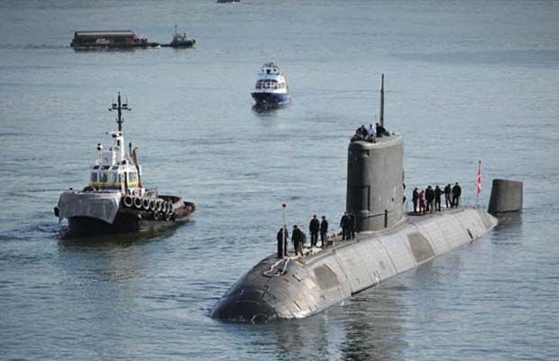 A Canadian submarine docks at Canada Place in  Vancouver  on April  25, 2013.
