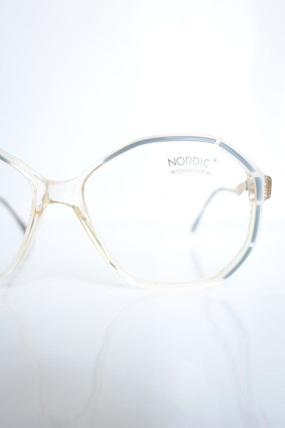 ee94d96bf597 Vintage White and Blue Eyeglasses – Pearl White and Pastel Blue Womens  Glasses – 1980s Oversized Eyeglass Frames – Retro Deadstock Optical