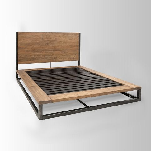 Rustic industrial pine iron bed furniture i Rustic bed frames