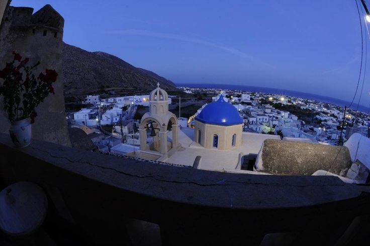View from the balcony in the night. — at Kasteli Emporio, Santorini, Greece.
