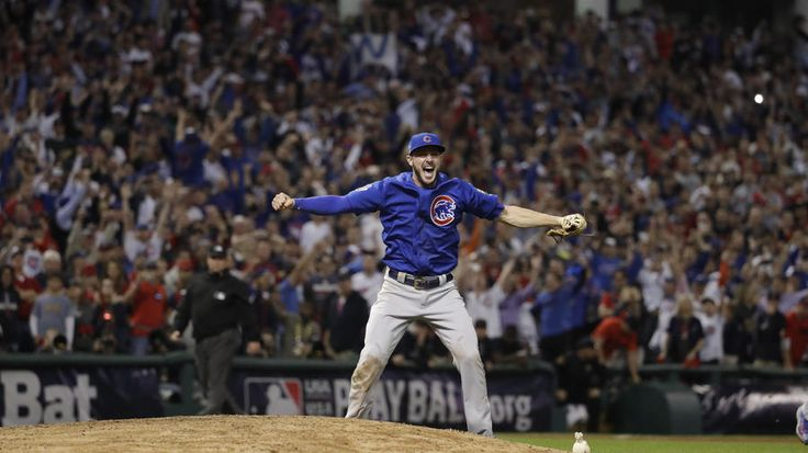 Chicago Cubs third baseman Kris Bryant (17) cheers as the Chicago Cubs defeat the Cleveland Indians in Game 7 to win the World Series at Progressive Field in Cleveland on Nov. 3, 2016.