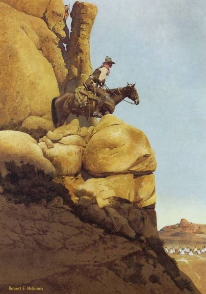 "'Point Rider' by Robert McGinnis -- Fascinating painting -- its all about ""looking out"" for First Nations even though there are none to be seen -- until you look way down into the bottom right hand corner of the painting."
