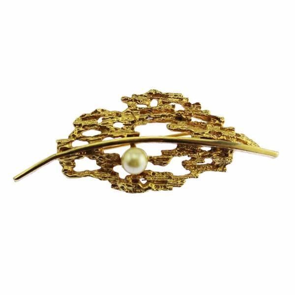 Modernist Gold and Pearl Brooch