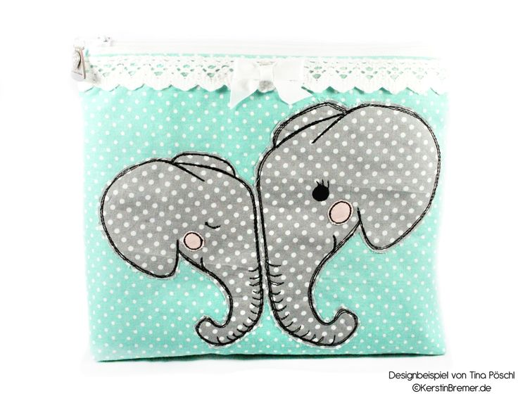 Elefantenliebe ♥ Elefanten Doodle Applikation Stickdatei von KerstinBremer.de ♥ elephant appliqué embroidery for embroidery machines. Freehand machine embroidery style. #sticken #nähmalen #nähen #sewing #elephantlove