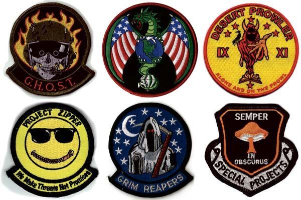 Clockwise from top left: Ghost Squadron. For search and rescue; National Reconnaissance Office. Dragon is code for infrared imaging on advanced KH-11 satellites; Desert Prowler. May represent Groom Lake, Nev., a k a Area 51; Special Projects Office. Oversaw F-117A stealth fighter support; 4451st Test Squadron. Stealth fighters; 413th Flight Test Squadron. Possibly referring to simulated or real electronic threats against aircraft.Jakub4 Image, Trevor Paglen, Patches Jpg Pictures, Patches Jpg Photos, Area 51, 01Patch Xlarge2 Jpg, Jaguar Projects, Free Image, Military Patches