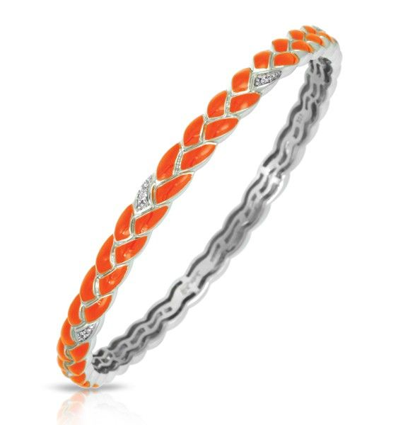 Constellations Collection; Orange Bangle; Elegant braids of sterling silver in gorgeous hand-painted Italian enamels and pavé-set stones.