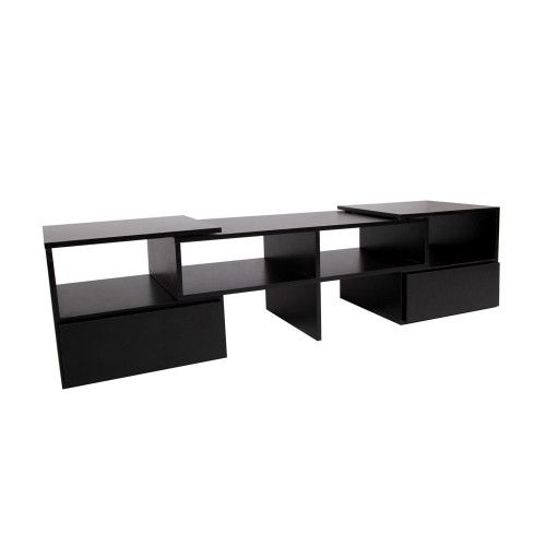 Cheap Stylish TV Stand Entertainment Unit 175cm Corner Adjustable Cabinet Black