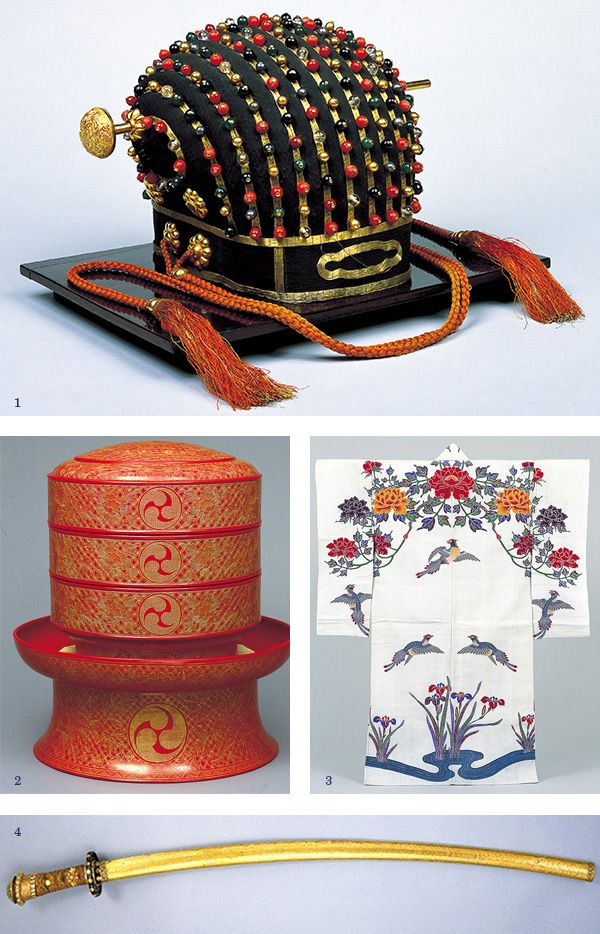 1: Royal crown. Brought from China, used in special ceremonies for the Ryukyu Kingdom's royal family. 2: Food box set. Used at private parties by Ryukyu Kingdom royalty. 3: Bingata. Okinawan resist-dyed kimono, 18th-19th century. 4: Golden sword. Used by the king of Hokuzan to commit suicide when his kingdom was destroyed by Sho Hashi of the first Sho dynasty in 1416.