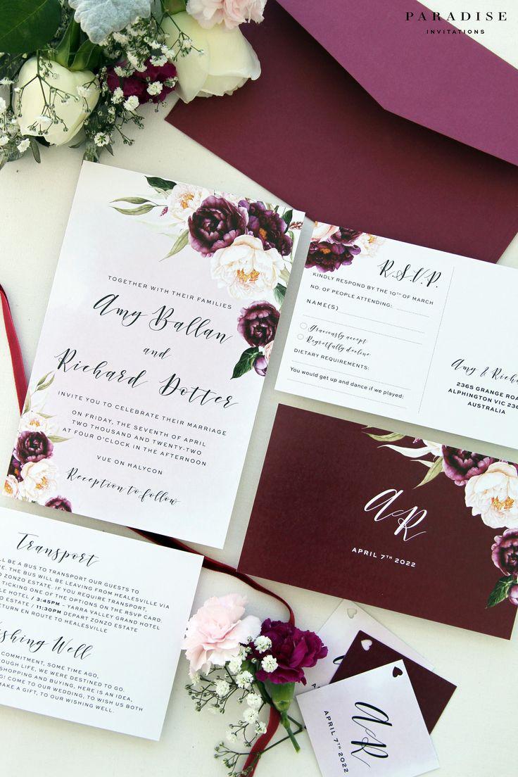 Margarette Burgundy Wedding Invitation Sets Printable