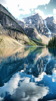 Banff National Park, Canada, mountain, water, lake, clouds, sky, reflections, beautiful, mirror effect, amazing, panorama, Mother Nature, breathtaking, photo. I Love to Travel @ http://www.PhuketOn.com/cheap-hotels