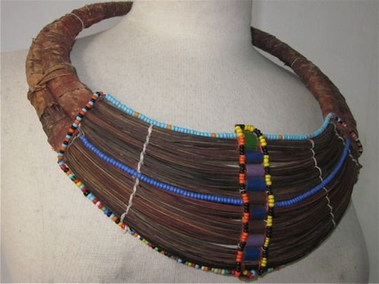 Africa | Wedding Necklace 'Mpooro Engorio' Rendille peoples. Kenya | Beads, palm fibers, leather, wire, plastic beads | 20th century | These necklaces are also sometimes worn by the Samburu women in northern Kenya. Only married women wear such necklace, and they are usually given as a present to a bride.: Art, Palm Fibers, Wedding Necklaces, Fiber Wired, Necklace Mpooro, Bride
