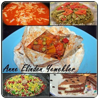 İftar Menüsü:  Közlenmiş Kırmızı Biber Çorbası Zeytinyağlı Fasulye Dizmesi Sebzeli Kağıt Kebabı Makarna Salatası İrmik Pastası
