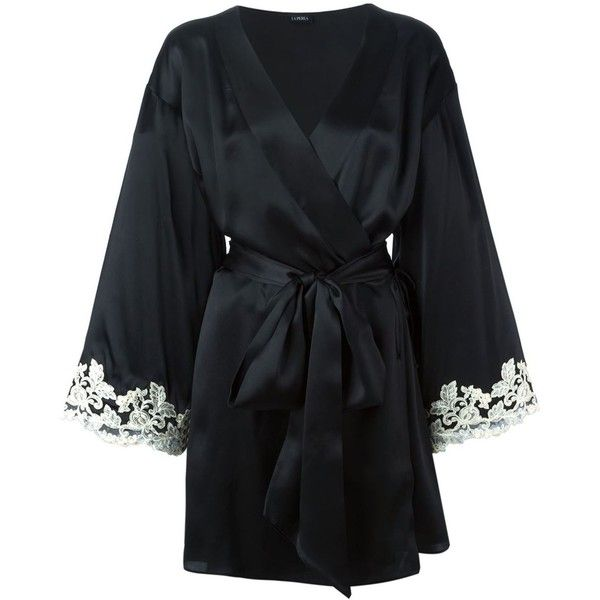 La Perla 'Maison' robe (12 140 SEK) ❤ liked on Polyvore featuring intimates, robes, black, black robe, embroidered robes, la perla and la perla robe