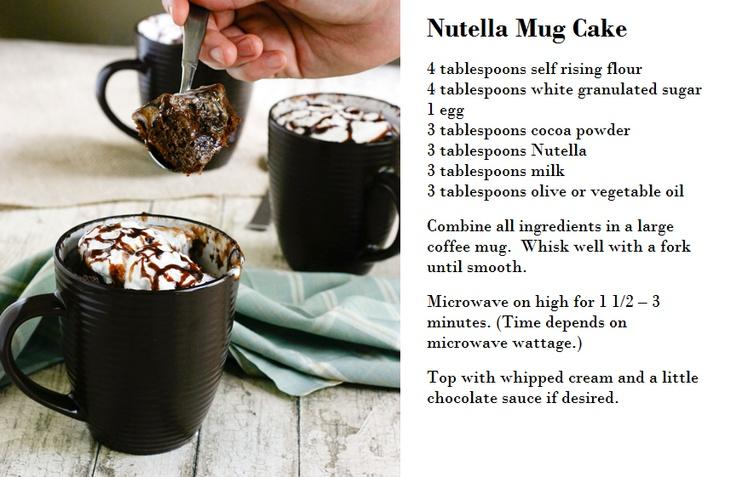 Nutella mug cake (original source: http://blogs.babble.com/family-kitchen/2011/03/15/nutella-mug-cake)