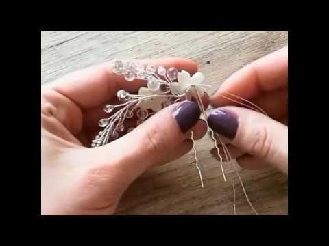 Свадебное украшение. Свадебное украшение ручной работы.Свадебный гребень мастер класс. - YouTube