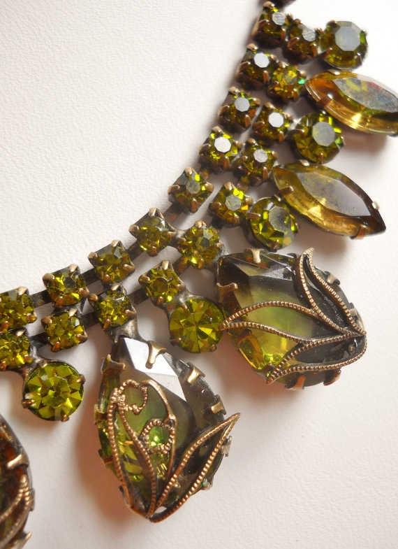 Rare Vintage 1950'S Necklace Green Glass Rhinestone by LakeBreezes, $95.00