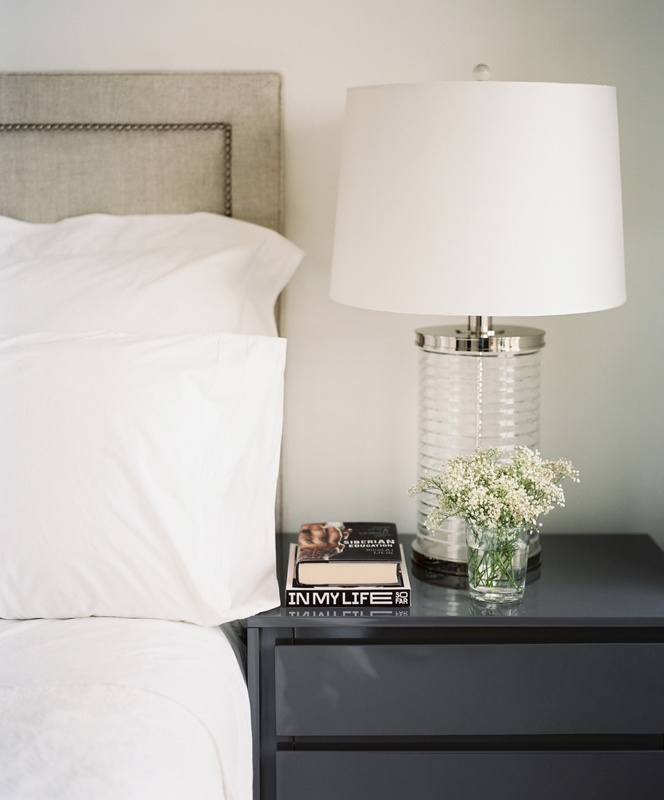 white - charcoal - bedside styling