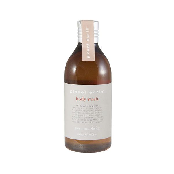 Experience the fresh, natural feeling of the Planet Earth range with the Cocoa Butter Fragrance body wash.  Inspired by nature, our products contain no artificial colours, mineral oils, parabens, PEGS or SLES.