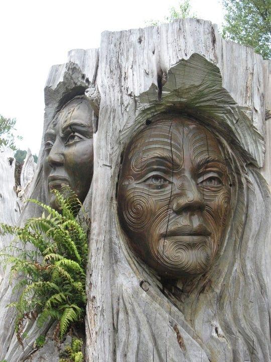 Maori Carvings, Lake Taupo , New Zealand