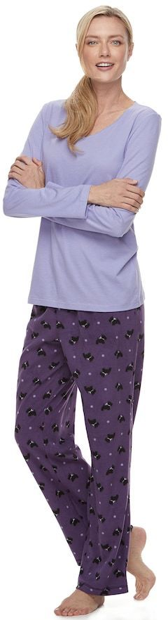 Croft & Barrow Petite Pajamas: Microfleece 2-Piece PJ Set