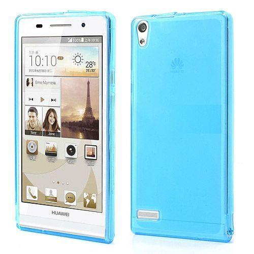 Flexibel transparant / blauw hoesje voor Huawei Ascend P6