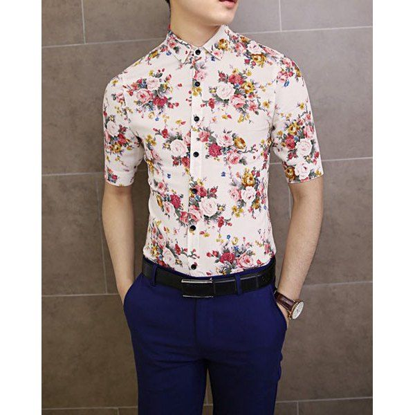 $15.87 Stylish Shirt Collar Floral Print Half Sleeves Polyester Shirt For Men