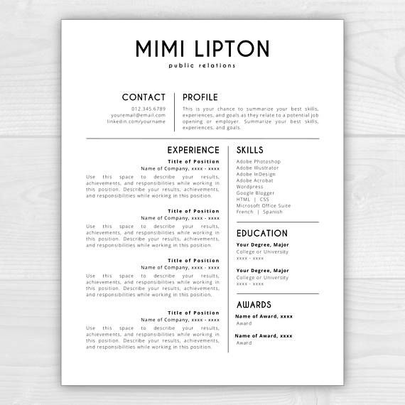 1-Page Professional Resume Template for Microsoft Word & Mac Pages: Mimi Lipton  - Instant Download  - US Letter and A4 sizes included - Mac & PC compatible using Microsoft Word or Mac Pages   SALE //  HUGE fall sale!!! Limited time only!  All 1-page resume templates on sale for