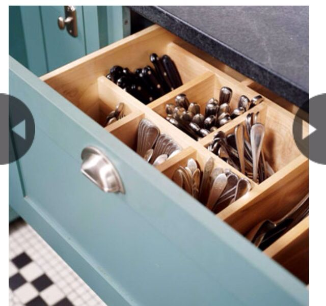 Deep pull out drawers house space savers pinterest for Silverware storage no drawers