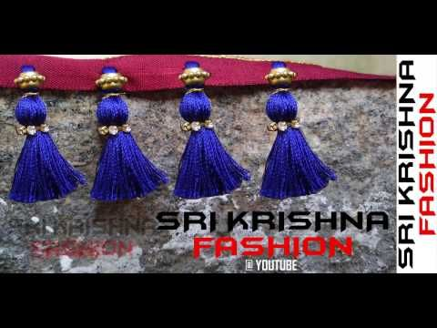 How to make Double Colored Saree Kuchu / Tassels using Silk Thread and Beads at Home | Tutorial !! - YouTube