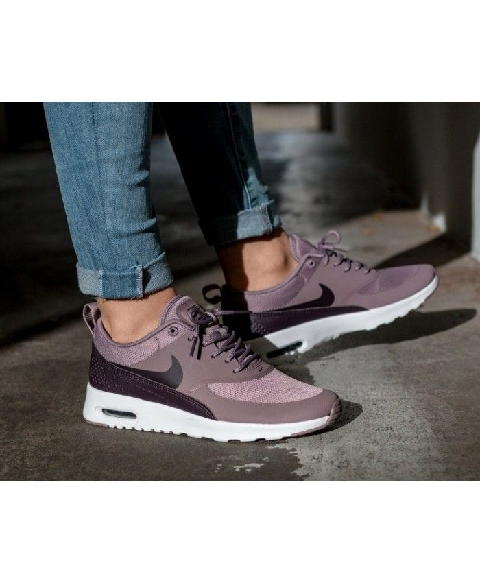 online store b6067 913a7 Nike Air Max Thea Taupe Grey Port Wine White Trainers Sale