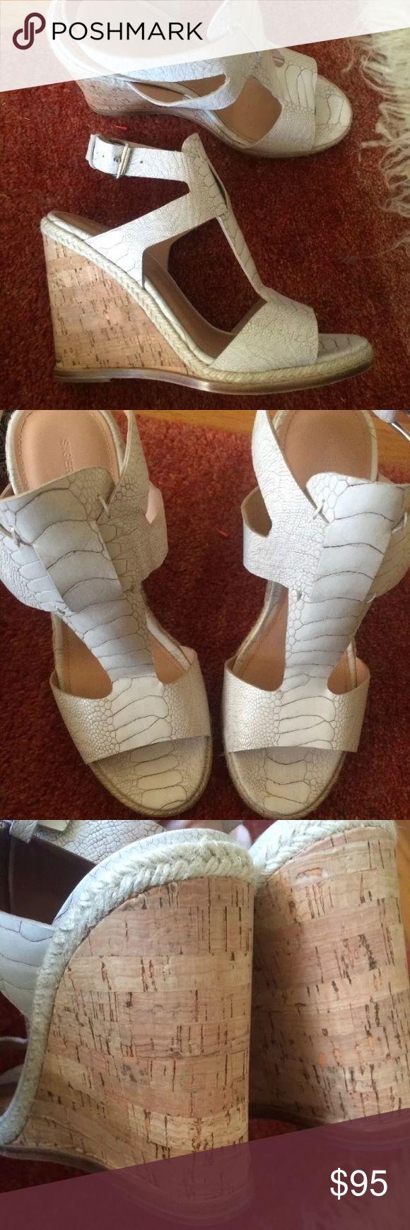 Sigerson Morrison leather reptile cork wedge New size 10 Sigerson Morrison Shoes Espadrilles