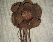 Real leather flower brooch with suede laces and fringes