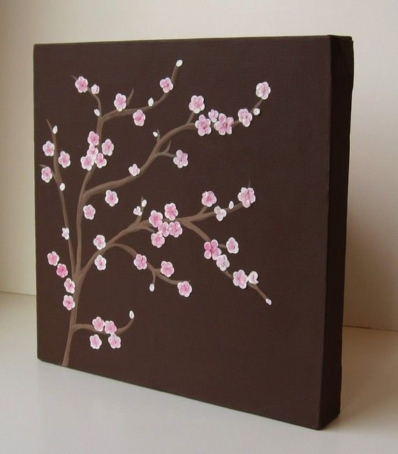 cherry blossoms. maybe with a blue background. love the brown though!