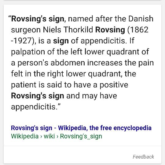 Rovsing's sign- indicative of appendicitis