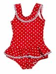 She will look adorable for those summer party pictures wearing this Snapping Turtle Kids girls swimsuit with red and white dots and ruffled skirt in baby girl and toddler girls sizes from The Best Dressed Child. This bright red and white polka dots Sag Harbor bathing suit by Snapping Turtle Kids with a snap bottom closure has pretty white flower trim bordering the skirt ruffles and beautifully draped front and back bodice design.