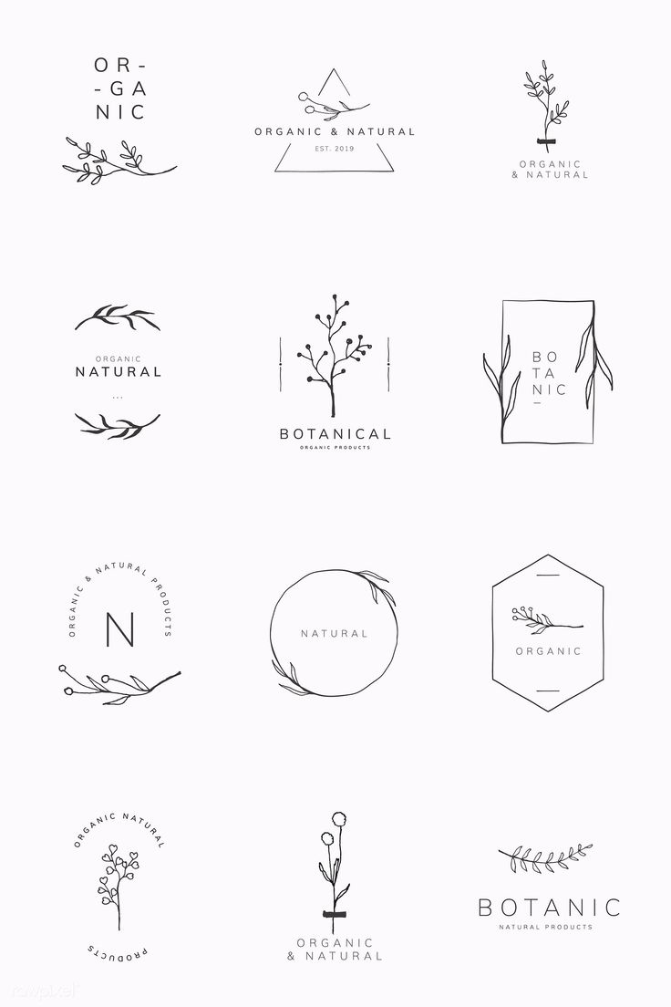 Download premium vector of Organic product brand logo vector collection